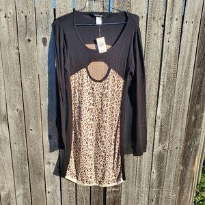 Ashley Stewart Scoop Leopard Midi Dress sz 14/16